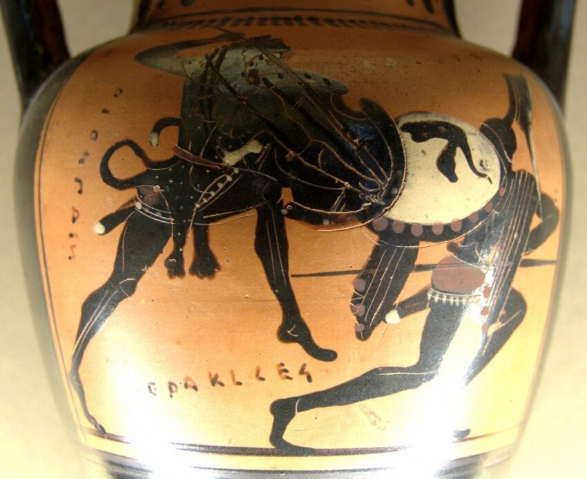 Cycnus, the son of Ares, challenged Heracles to combat as Heracles was passing through Thessaly. Credits: Wikipedia