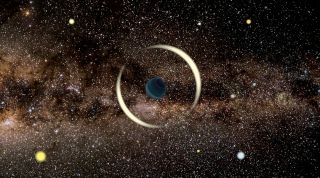 """Artist's rendering of a gravitational microlensing event caused by a free-floating """"rogue"""" planet."""