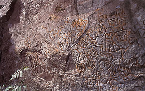 Petroglyphs thought to point to the Paititi